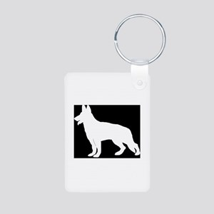 White German Shepherd Aluminum Photo Keychain