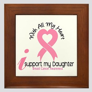 With All My Heart Breast Cancer Framed Tile