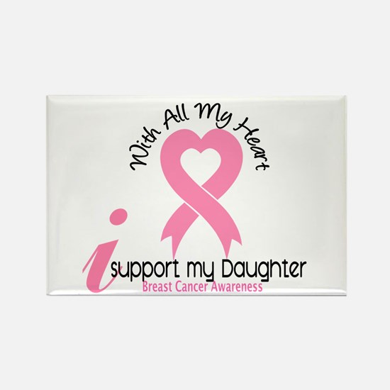With All My Heart Breast Cancer Rectangle Magnet (