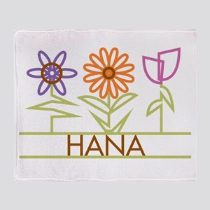 Hana with cute flowers Throw Blanket