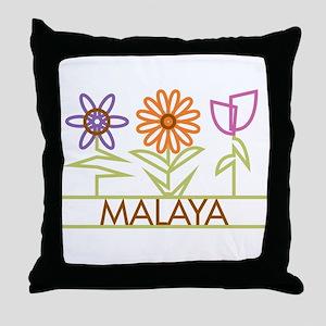 Malaya with cute flowers Throw Pillow