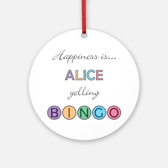 Alice BINGO Round Ornament