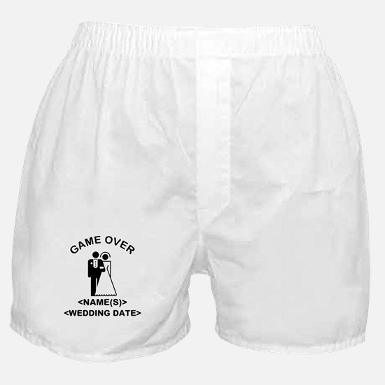 Game Over (Names and Wedding Date) Boxer Shorts