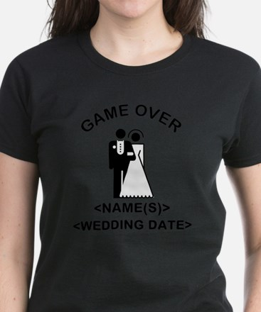 Game Over (Names and Wedding Date) Women's Dark T-