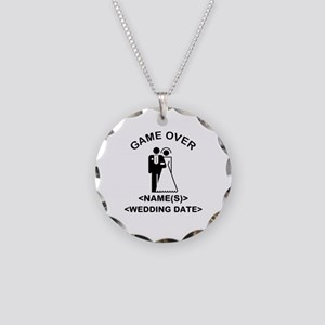 Game Over (Names and Wedding Date) Necklace Circle