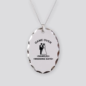 Game Over (Names and Wedding Date) Necklace Oval C