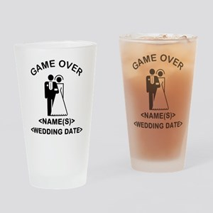 Game Over (Names and Wedding Date) Drinking Glass