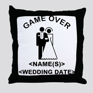 Game Over (Names and Wedding Date) Throw Pillow