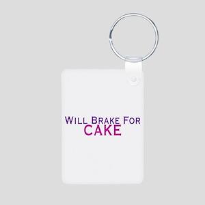 Will Brake For Cake Aluminum Photo Keychain