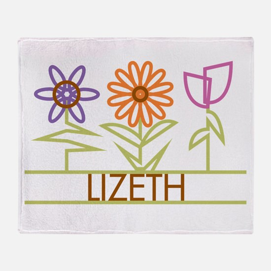 Lizeth with cute flowers Throw Blanket
