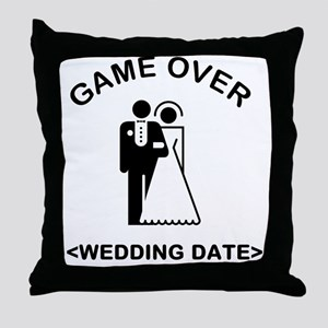 Game Over (Type In Your Wedding Date) Throw Pillow