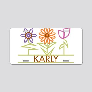 Karly with cute flowers Aluminum License Plate