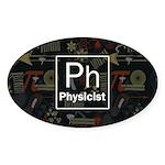 Physicist Retro Sticker (Oval 50 pk)