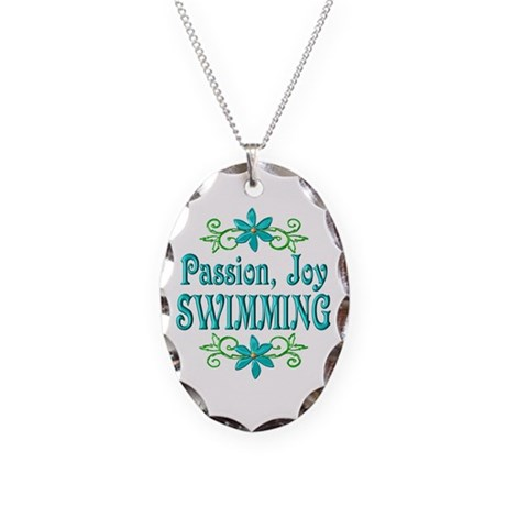Swimming Joy Necklace Oval Charm