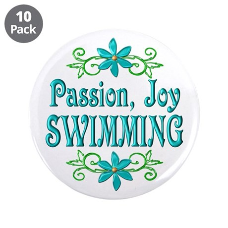 "Swimming Joy 3.5"" Button (10 pack)"