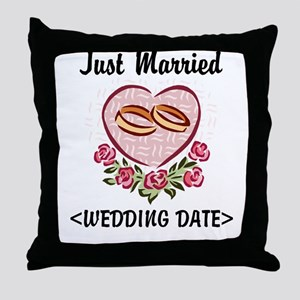 Just Married (Add Your Wedding Date) Throw Pillow