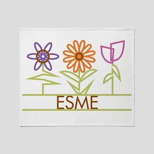 Esme with cute flowers Throw Blanket