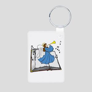 Angel and Book Aluminum Photo Keychain