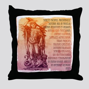St. Michael Prayer in Latin Throw Pillow