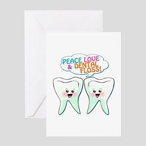 Peace Love Dental Floss Greeting Card