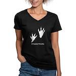 Alligator Tracks Women's V-Neck Dark T-Shirt