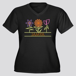 Jamya with cute flowers Women's Plus Size V-Neck D