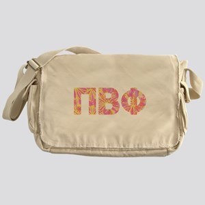 Pi Beta Phi Pink Floral Letters Messenger Bag