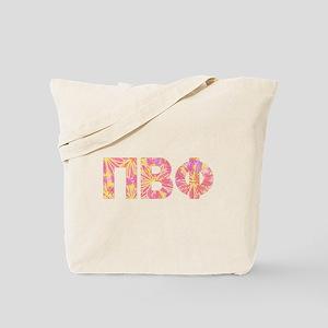 Pi Beta Phi Pink Floral Letters Tote Bag