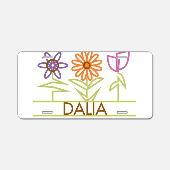 Dalia with cute flowers Aluminum License Plate