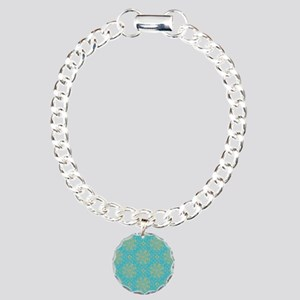 Teal & Gold Snowflakes Charm Bracelet, One Charm