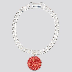 Red & Gold Snowflakes Charm Bracelet, One Charm