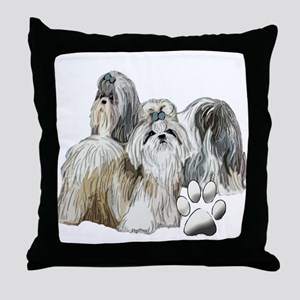 two shih tzus Throw Pillow