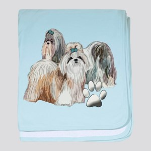 two shih tzus baby blanket