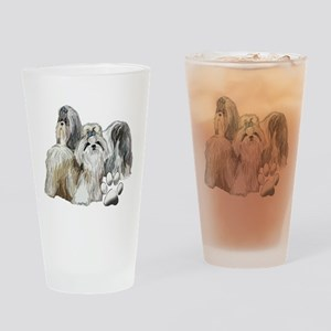 two shih tzus Drinking Glass