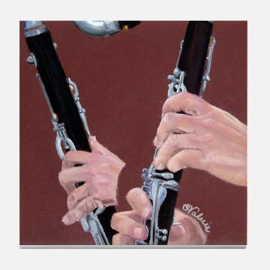 Clarinet Hands Tile Coaster
