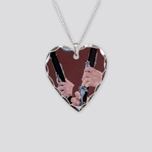 Clarinet Hands Necklace Heart Charm