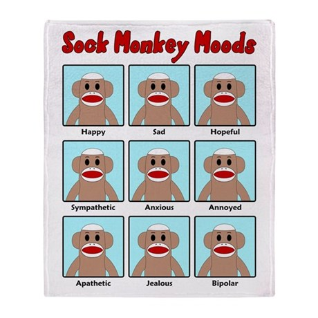 Sock Monkey Moods Throw Blanket