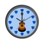 Guitar with Blue Pick Numbers Wall Clock