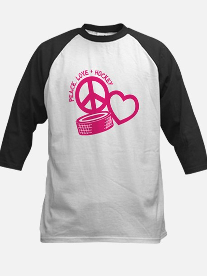 Peace, Love & Hockey Kids Baseball Jersey