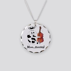 Cow Moo...sician! Necklace Circle Charm