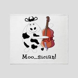 Cow Moo...sician! Throw Blanket
