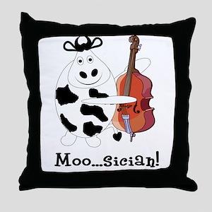 Cow Moo...sician! Throw Pillow