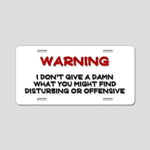 Warning Disturbing Or Offensive Aluminum License P