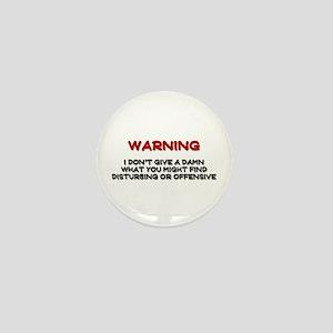 Warning Disturbing Or Offensive Mini Button