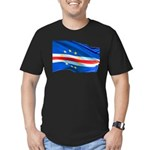 Cape Verde Flag Wave Men's Fitted T-Shirt (dark)