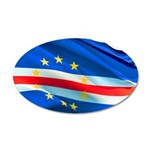 Cape Verde Flag Wave 20x12 Oval Wall Decal