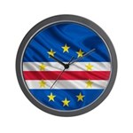 Cape Verde Flag Wave Wall Clock