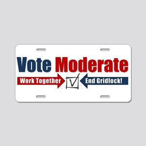 Vote Moderate Aluminum License Plate