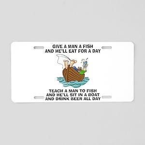 Teach A Man To Fish Aluminum License Plate