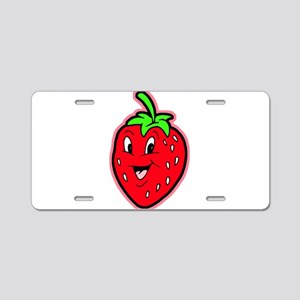 Happy Strawberry Aluminum License Plate